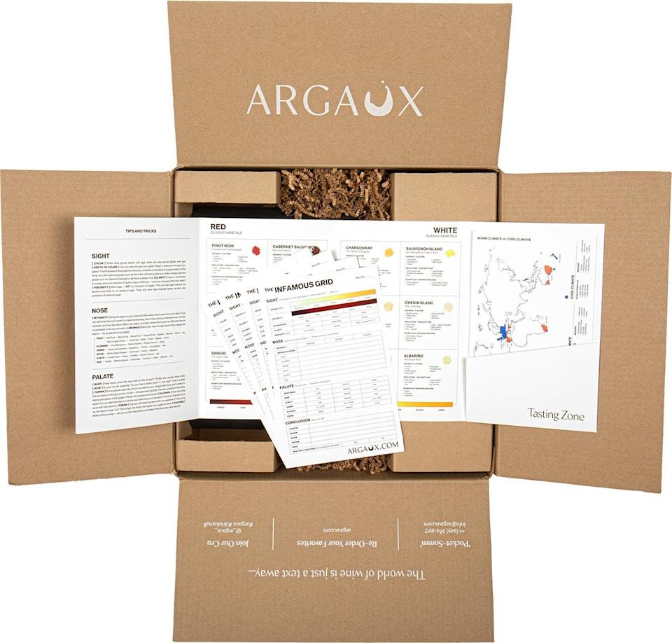 """<p>Napa and Tuscany may be beyond our reach right now, but that doesn't mean we can't have a lovely wine tasting experience at home. Bottles of wine will arrive """"masked"""" (don't unmask them!), and you will be able to go at your own pace via a virtual guide. <a href=""""https://www.argaux.com/wine/quarantine-edition-blind-tasting-kits/"""" rel=""""nofollow noopener"""" target=""""_blank"""" data-ylk=""""slk:Argaux's Blind Tasting Kit"""" class=""""link rapid-noclick-resp"""">Argaux's Blind Tasting Kit</a> is a must for serious vino lovers as well as those looking for a way to expand their palate.</p> <p><strong>$100-$150, <a href=""""https://www.argaux.com/wine/quarantine-edition-blind-tasting-kits/"""" rel=""""nofollow noopener"""" target=""""_blank"""" data-ylk=""""slk:argaux.com"""" class=""""link rapid-noclick-resp"""">argaux.com</a></strong></p>"""