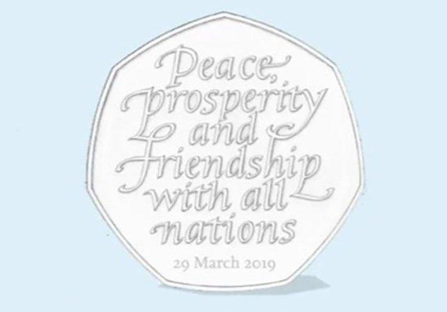 A mock of the new Brexit 50p, with the words 'peace, prosperity and friendship with all nations.