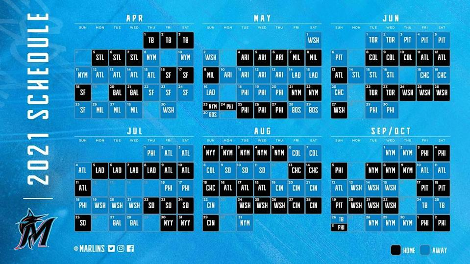 A look at the Miami Marlins' 2021 schedule.