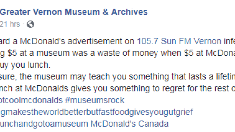 McDonald's Canada apologizes, pulls ad offending museum supporters