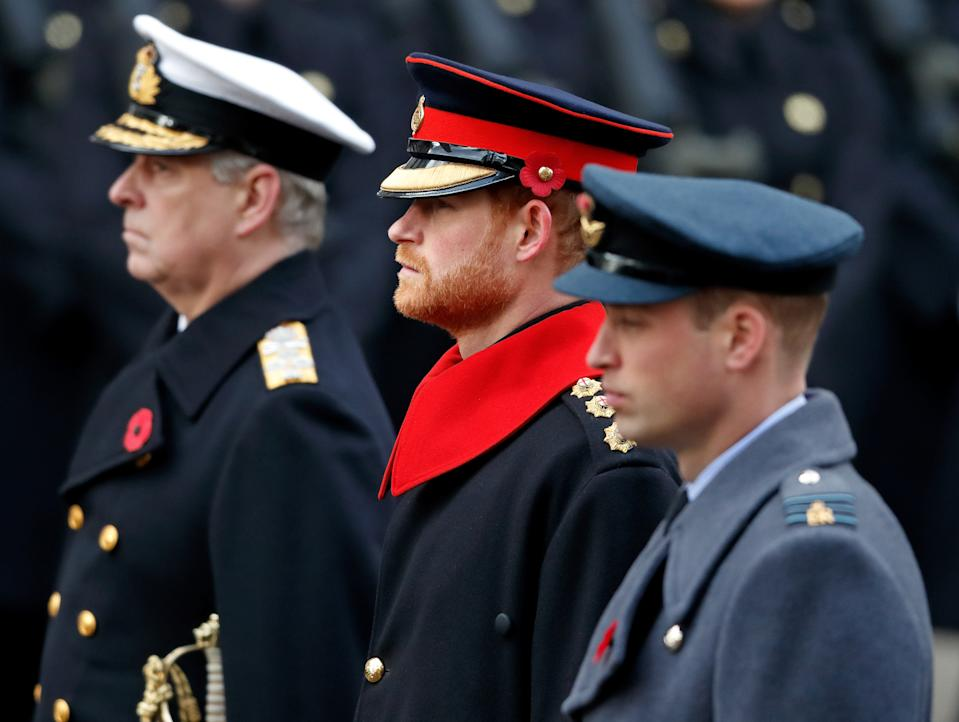 Prince Andrew, Prince Harry and Prince William at a Remembrance Sunday Service