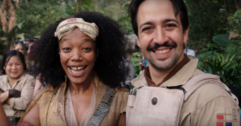 Naomie Ackie and Lin-Manuel Miranda in Star Wars: The Rise of Skywalker (Credit: Disney)