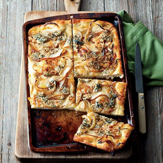 "<p>Topping focaccia with pear is the perfect contrast to the strong flavor of blue cheese.</p><p><a href=""https://www.foodandwine.com/recipes/focaccia-with-caramelized-onions-pear-and-blue-cheese"">GO TO RECIPE</a></p>"