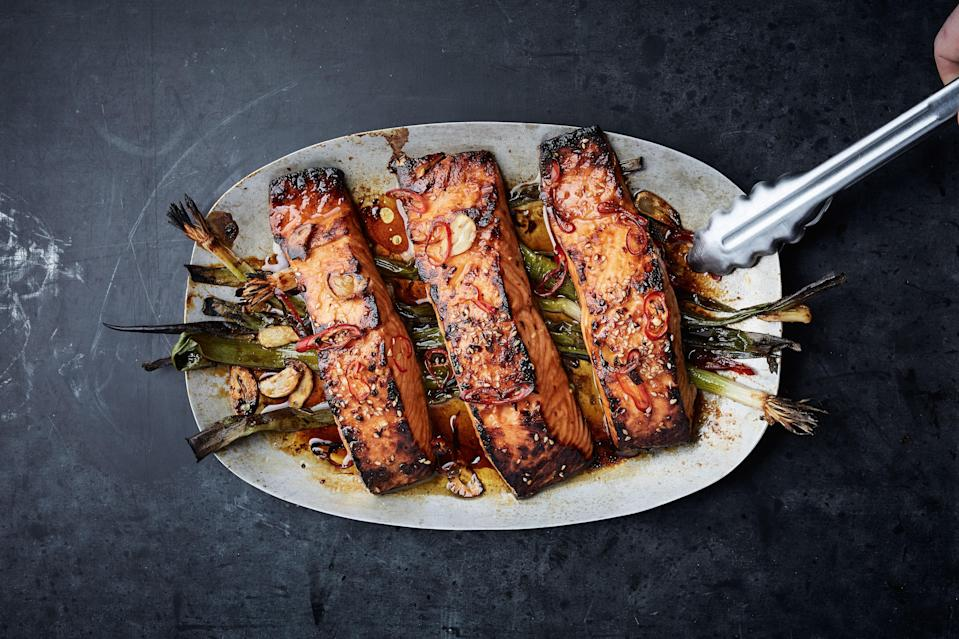 "The thing no one tells you about salmon this way? It's really, really easy. <a href=""https://www.bonappetit.com/recipe/broiled-salmon-with-scallions-and-sesame?mbid=synd_yahoo_rss"" rel=""nofollow noopener"" target=""_blank"" data-ylk=""slk:See recipe."" class=""link rapid-noclick-resp"">See recipe.</a>"