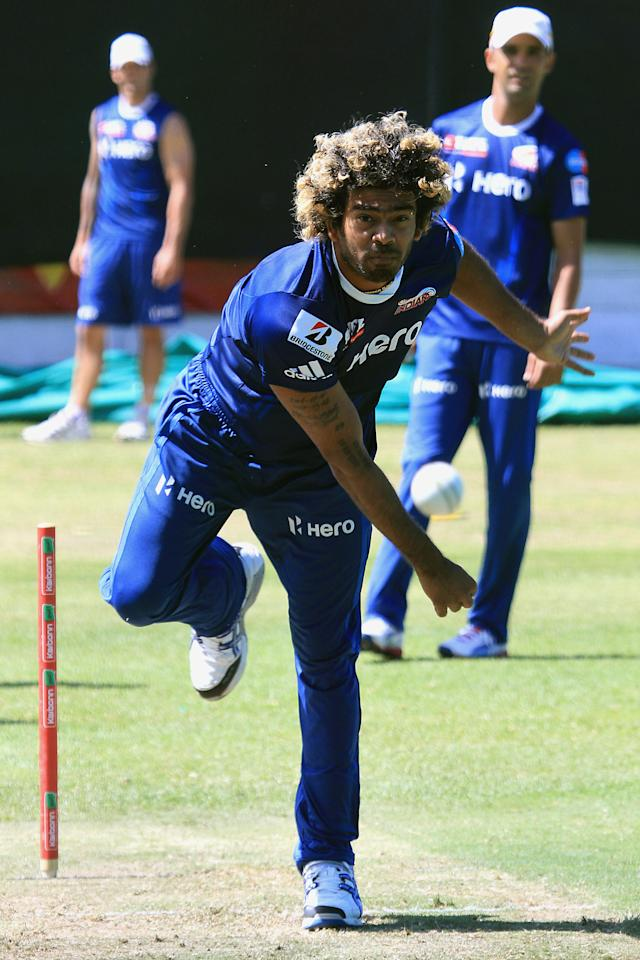 CAPE TOWN, SOUTH AFRICA - OCTOBER 17:  Lasith Malinga of Mumbai Indians attends a training session during the Champions League Twenty20, at Sahara Park Newlands on October 17, 2012 in Cape Town, South Africa. (Photo by Ashley Vlotman / Gallo Images/Getty Images)