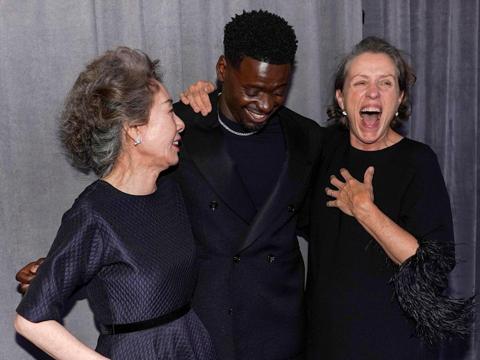 Yuh-Jung Youn, Daniel Kaluuya and Frances McDormand following their Oscar wins (Chris Pizzello-Pool/Getty Images)