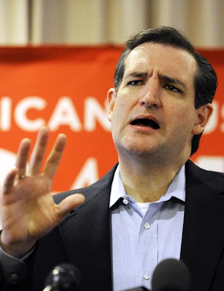 Texas Republican Senate candidate Ted Cruz speaks to the media, Wednesday, Aug. 1, 2012, in Houston a day after defeating Lt. Gov. David Dewhurst in a runoff. (AP Photo/Pat Sullivan)