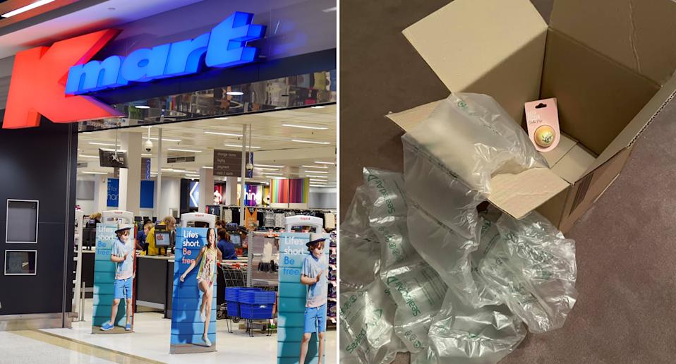 A Kmart customer has share the excessive packaging used to deliver one bath bomb.