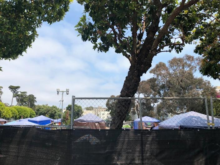 <p>The tops of tents inside 730 Stanyan. Photo: Camden Avery/Hoodline</p>