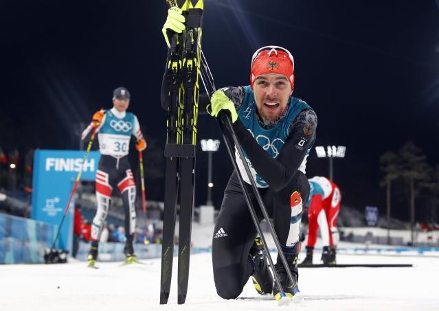 Nordic Combined Events - Pyeongchang 2018 Winter Olympics - Men's Individual 10 km Final - Alpensia Cross-Country Skiing Centre - Pyeongchang, South Korea - February 20, 2018 - Johannes Rydzek of Germany reacts. REUTERS/Kai Pfaffenbach