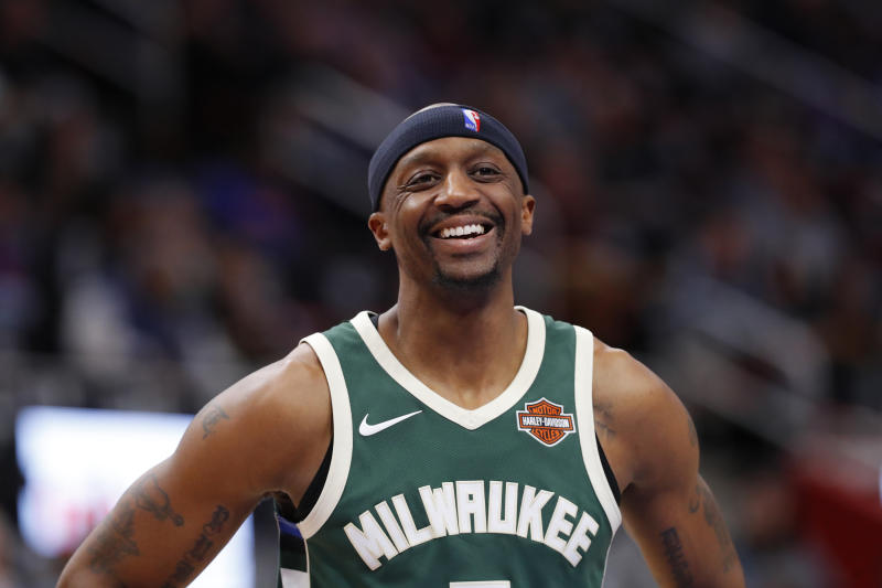 Milwaukee Bucks guard Jason Terry smiles against the Detroit Pistons in the second half of an NBA basketball game in Detroit, Wednesday, Feb. 28, 2018. (AP Photo/Paul Sancya)