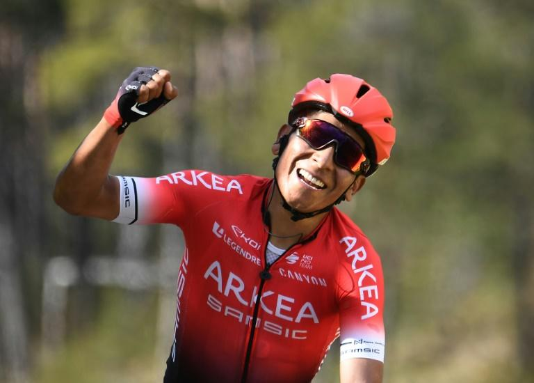 Colombian Nairo Quintana of Arkea-Samsic celebrates as he wins the seventh and final stage of Paris-Nice in March 2020    The organizers of the 78th Paris-Nice cycling race announced on March 13, 2020 the cancellation of the last stage scheduled for Sunday due to the coronavirus pandemic