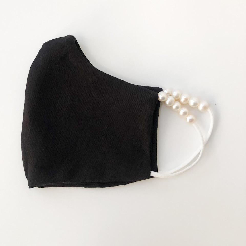 <p><span>Cotton Fitted Face Mask with Pearl Elastics</span> ($16)</p>