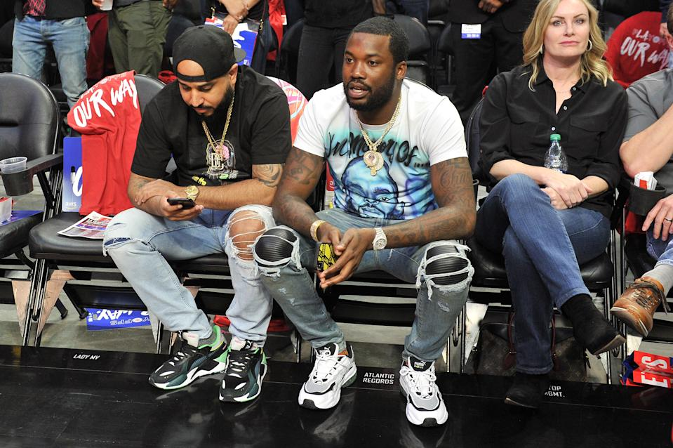 Rapper Meek Mill attends an NBA playoffs basketball game between the Los Angeles Clippers and the Golden State Warriors at Staples Center on April 18, 2019 in Los Angeles, California. (Photo by Allen Berezovsky/Getty Images)