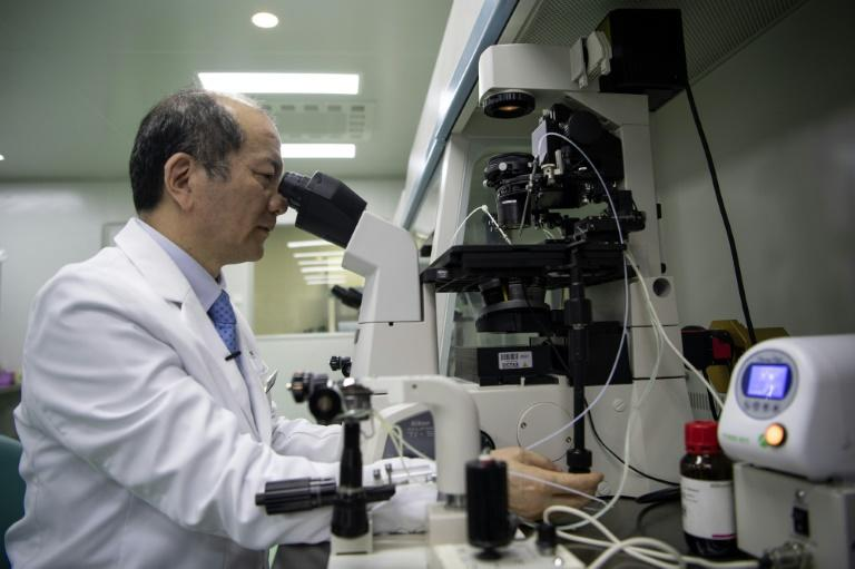 Liu Jiaen, director of a fertility hospital, looking at a sperm sample through a microscope at the hospital in Beijing