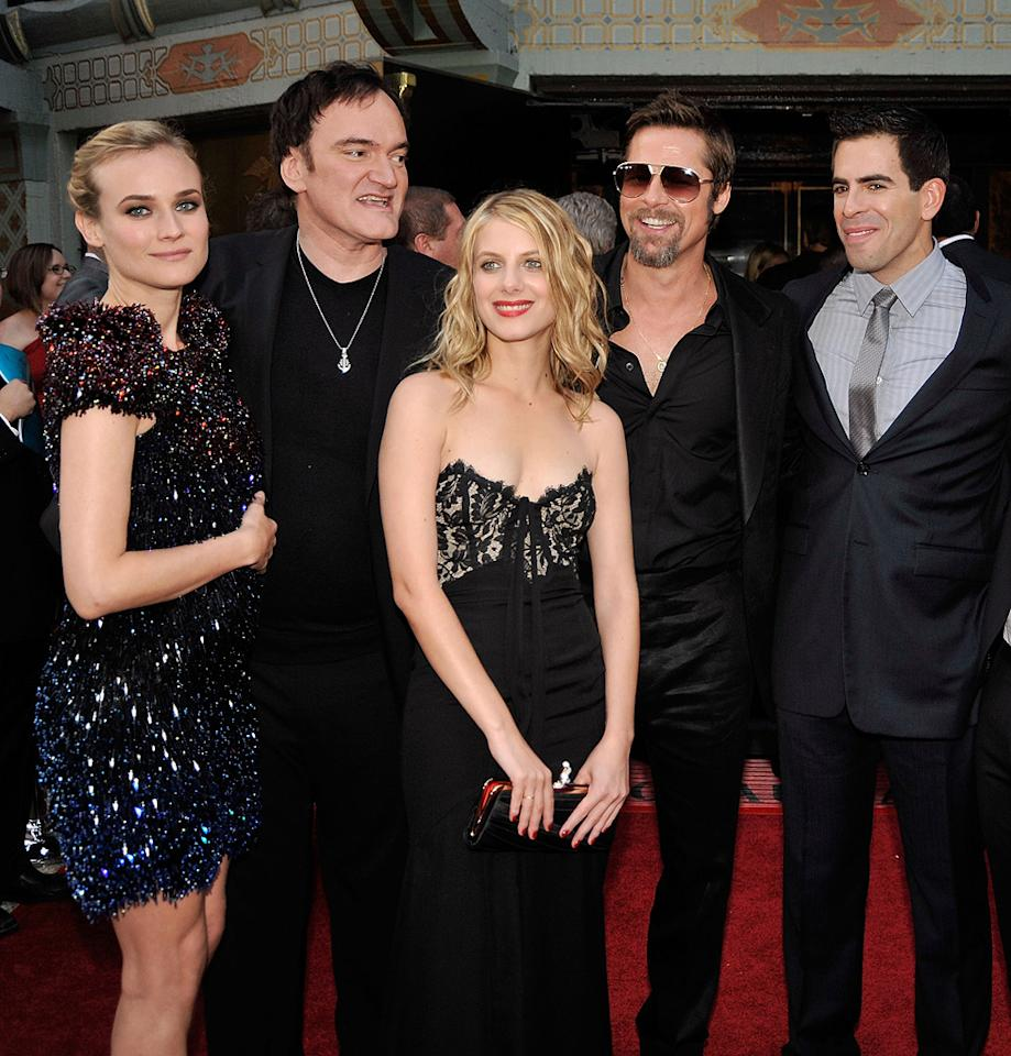 """<a href=""""http://movies.yahoo.com/movie/contributor/1808488303"""">Diane Kruger</a>, <a href=""""http://movies.yahoo.com/movie/contributor/1800021942"""">Quentin Tarantino</a>, <a href=""""http://movies.yahoo.com/movie/contributor/1809104564"""">Melanie Laurent</a>, <a href=""""http://movies.yahoo.com/movie/contributor/1800018965"""">Brad Pitt</a> and <a href=""""http://movies.yahoo.com/movie/contributor/1804143104"""">Eli Roth</a> at the Los Angeles premiere of <a href=""""http://movies.yahoo.com/movie/1808404206/info"""">Inglourious Basterds</a> - 08/10/2009"""