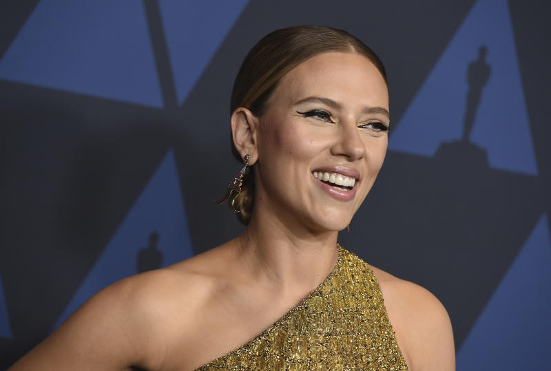 Scarlett Johansson arrives at the Governors Awards on Sunday, Oct. 27, 2019, at the Dolby Ballroom in Los Angeles. (Photo by Jordan Strauss/Invision/AP)
