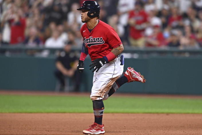Cleveland Indians' Harold Ramirez runs to second on an RBI double during the seventh inning of the team's baseball game against the Houston Astros, Saturday, July 3, 2021, in Cleveland. (AP Photo/David Dermer)