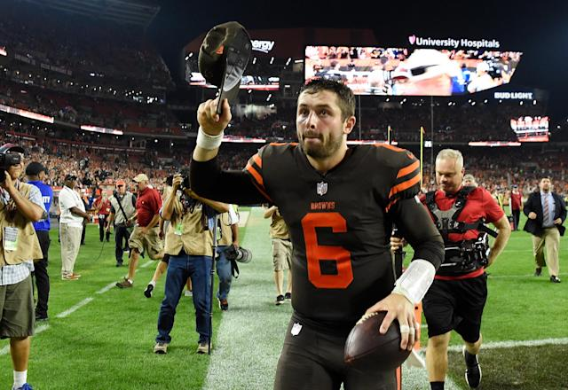 QB Baker Mayfield was the king of Ohio for a night after helping lead the Browns to their first victory since Dec. of 2016. (Getty Images)