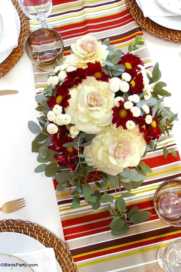 """<p>Embrace harvest season and use seasonal selections like cabbage flowers, crimson daises, and ivory mums to fill out your vases.</p><p><strong>Get the tutorial at </strong><a href=""""https://www.blog.birdsparty.com/2015/11/diy-easy-floral-centerpiece-thanksgiving-fall-autumn-table.html"""" rel=""""nofollow noopener"""" target=""""_blank"""" data-ylk=""""slk:Bird's Party"""" class=""""link rapid-noclick-resp""""><strong>Bird's Party</strong></a><strong>.</strong></p><p><a class=""""link rapid-noclick-resp"""" href=""""https://www.amazon.com/Oasis-Pack-Standard-Floral-Bricks/dp/B00GO4W2S4/?tag=syn-yahoo-20&ascsubtag=%5Bartid%7C10050.g.2130%5Bsrc%7Cyahoo-us"""" rel=""""nofollow noopener"""" target=""""_blank"""" data-ylk=""""slk:SHOP FLORAL FOAM""""><strong>SHOP FLORAL FOAM</strong></a></p>"""