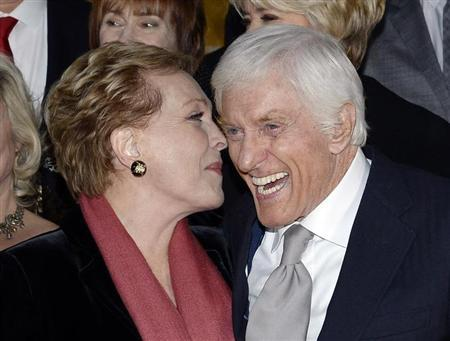 "Actors Julie Andrews (L) and Dick Van Dyke attend the film premiere of ""Saving Mr. Banks"" at the Walt Disney Studios in Burbank, California, December 9, 2013. REUTERS/Kevork Djansezian"