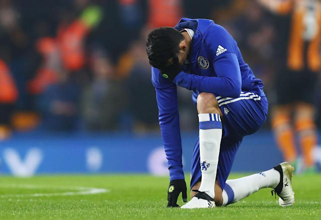 <p>Returning hero Diego Costa nearly scores after just 12 seconds when his lashed effort goes just wide of the post </p>