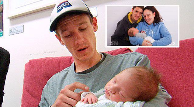 Daniel Stirling with miracle baby Caleb, inset Sarah and Daniel with their oldest son Jordan who survived the horror crash. Photo: 7 News