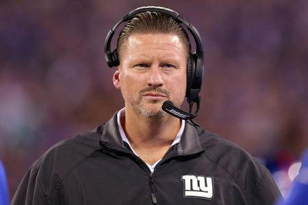 Sep 18, 2017; East Rutherford, NJ, USA; New York Giants head coach Ben McAdoo coaches against the Detroit Lions during the fourth quarter at MetLife Stadium. Mandatory Credit: Brad Penner-USA TODAY Sports