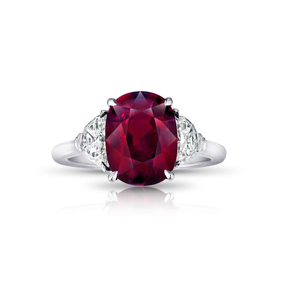 "<p>Rubies have historically signified great passion and are associated with love and courage, making it an ideal stone to wear to commemorate your engagement.</p><p><em>Ruby with half moon diamond side stones ring <em>set platinum</em></em><em>, price upon request, </em><em><a href=""https://davidgrossgroup.com/"" rel=""nofollow noopener"" target=""_blank"" data-ylk=""slk:davidgrossgroup.com"" class=""link rapid-noclick-resp"">davidgrossgroup.com</a></em><em>.</em></p><p><a class=""link rapid-noclick-resp"" href=""https://davidgrossgroup.com/collections/all-live-products/products/5-10-carat-oval-red-ruby-and-diamond-ring"" rel=""nofollow noopener"" target=""_blank"" data-ylk=""slk:SHOP"">SHOP</a> </p>"