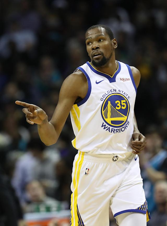 CHARLOTTE, NORTH CAROLINA - FEBRUARY 25: Kevin Durant #35 of the Golden State Warriors reacts after a play against the Charlotte Hornets during their game at Spectrum Center on February 25, 2019 in Charlotte, North Carolina. (Photo by Streeter Lecka/Getty Images)