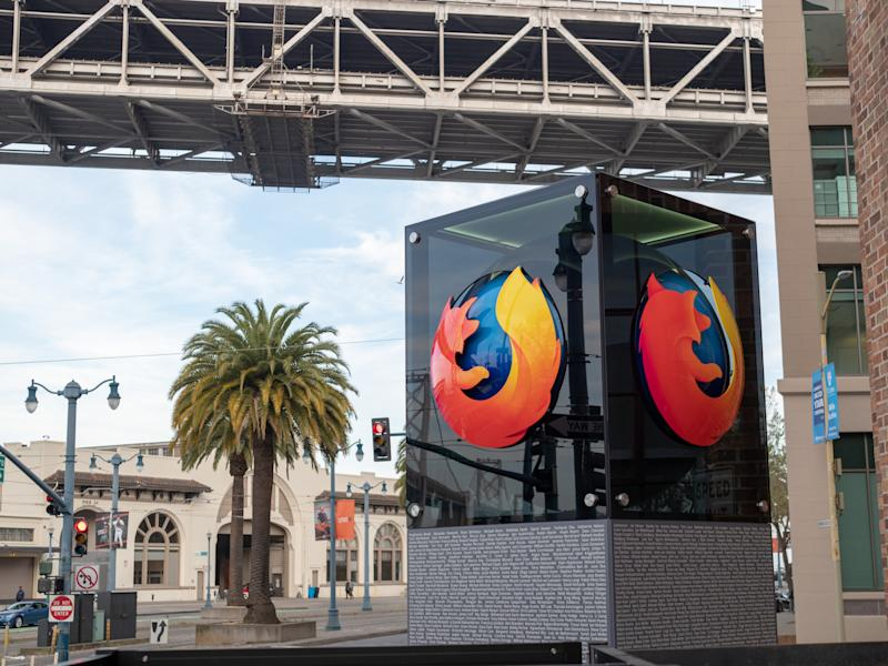 Mozilla Firefox logo outside of San Francisco location with palm tree in background