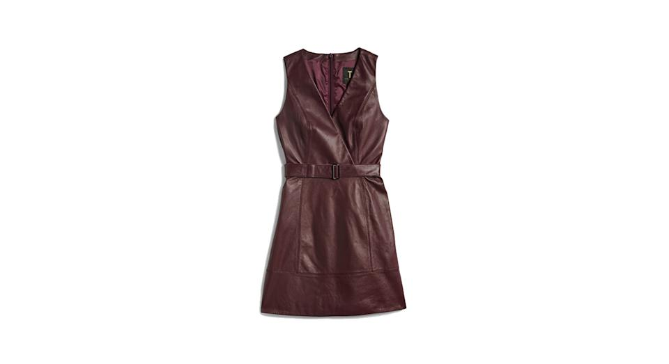 Palmara Leather belted wrap dress