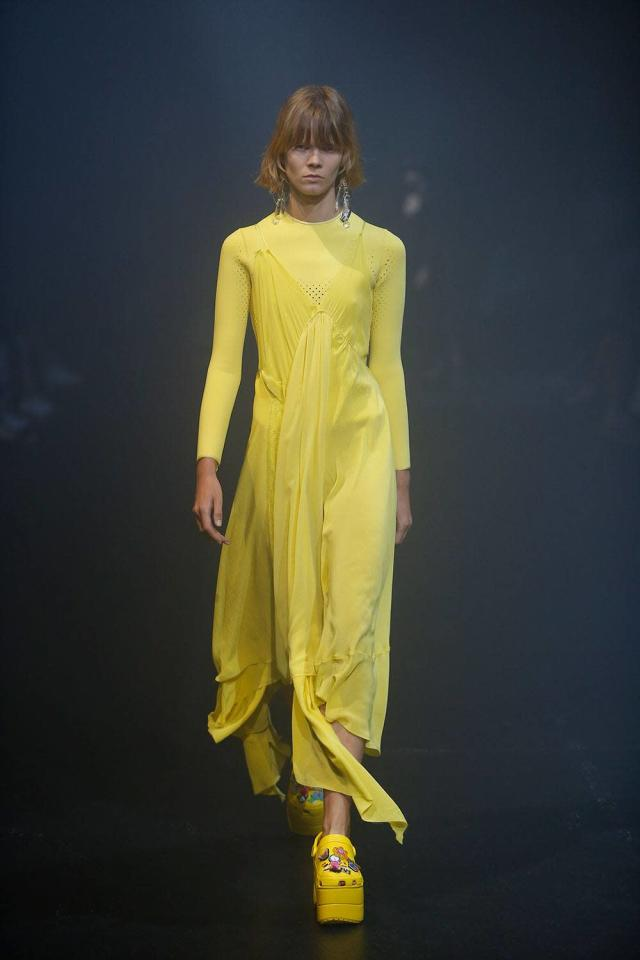 Yellow Crocs on the catwalk at Balenciaga. (Photo: Balenciaga)
