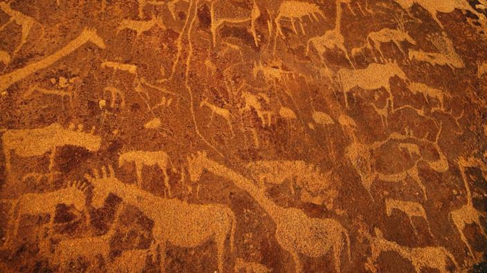 Rock art engravings at Twyfelfontein World Heritage Site at Uibasen Conservancy, Damaraland, Namibia