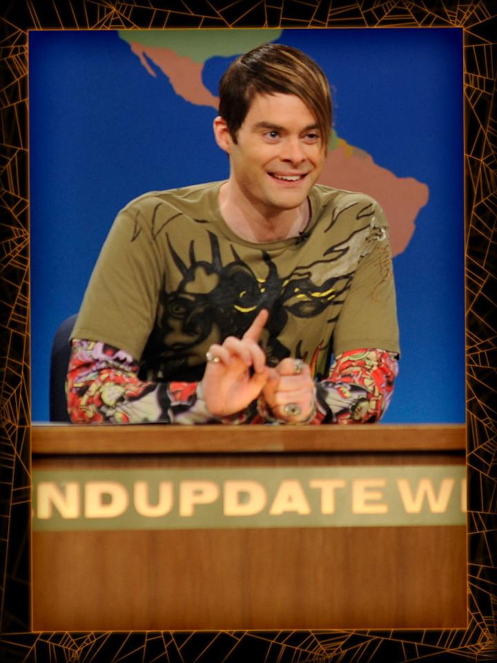 "<b>Stefon</b> (""Saturday Night Live"")<br><b>Level of difficulty:</b> Easy<br><br>You'll be fabulously flamboyant dressed up as ""Saturday Night Live"" Weekend Update's NYC correspondent Stefon. Throw on an Ed Hardy-inspired t-shirt, hit up a local costume store to pick up a pair of slip-on fake tattoo sleeves, and litter your fingers with rings. To get Stefon's hairstyle, spray your locks with temporary blonde highlights, brush it all to one side, and set it in place with lots of gel."