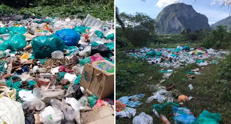 Photos shared by Kovin Siva showing rubbish strewn all over the ground at Sahom Valley Resort in Malaysia.