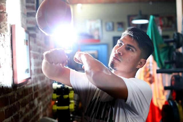 Mikey Garcia works out on the speed bag during a workout at Fortune Gym on July 10, 2018, in Los Angeles. (Getty Images)