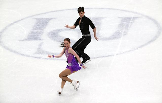 Figure Skating - World Figure Skating Championships - The Mediolanum Forum, Milan, Italy - March 23, 2018 Israel's Adel Tankova and Ronald Zilberberg during the Ice Dance Short Dance program REUTERS/Alessandro Bianchi