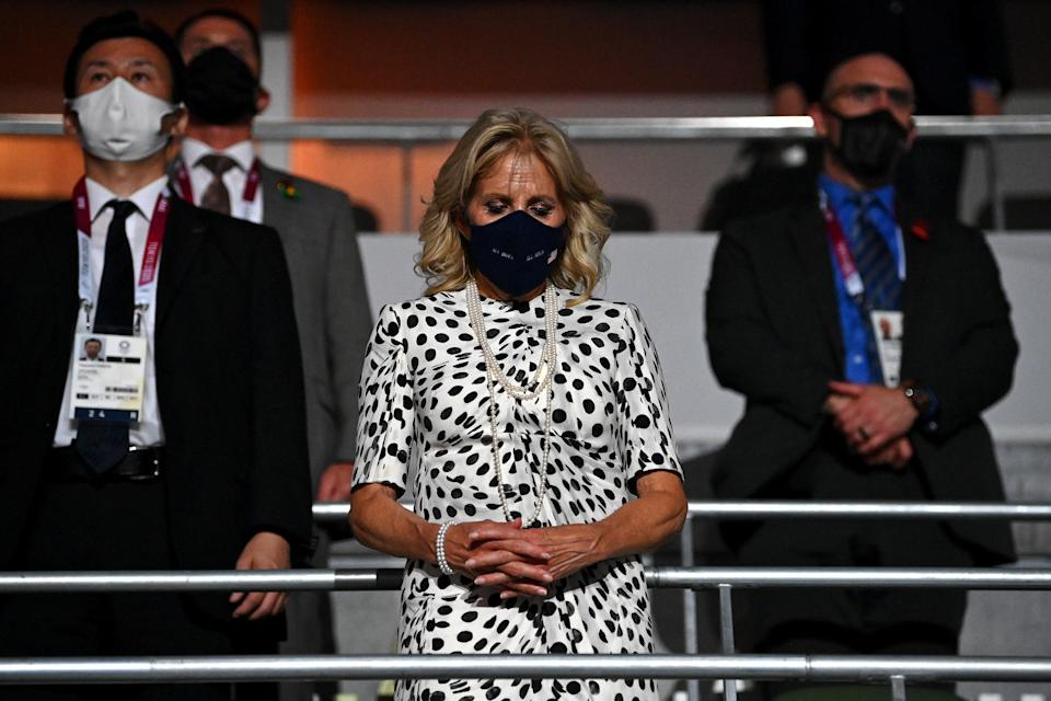 Jill Biden observes a moment of silence for those lost to Covid-19 (Getty Images)