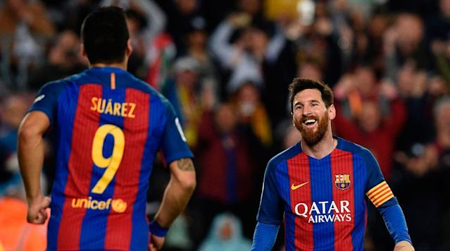 <p>Lionel Messi was up to his usual business on Saturday as Barcelona took on Real Sociedad in a league match.</p><p>Messi scored the first two goals of the game to give Barca a solid cushion before Sociedad clawed back to make it 3–2 at halftime.</p><p>His first came from outside the box, a left-footed driven blast into the lower right corner.</p><p>Messi popped up to snag a rebound and put it away for the second goal of the game.</p><p>Barcelona continues to chase rival Madrid in the league race.</p>