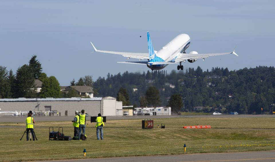 The final version of the 737 MAX, the MAX 10, takes off from Renton Airport in Renton, WA on its first flight Friday, June 18, 2021. The plane will fly over Eastern Washington and then land at Boeing Field (Ellen M. Banner/The Seattle Times via AP, Pool)