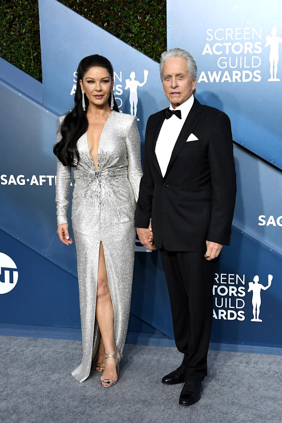 Zeta Jones (wearing Julien Macdonald) and Douglas were the picture of Hollywood royalty as they arrived hand-in-hand on the red carpet.