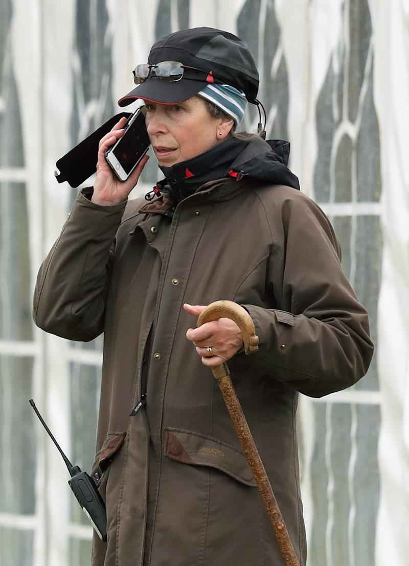Princess Anne with her cell phone and walkie-talkie at the Whatley Manor Horse Trials at Gatcombe Park in Stroud, September 2017.