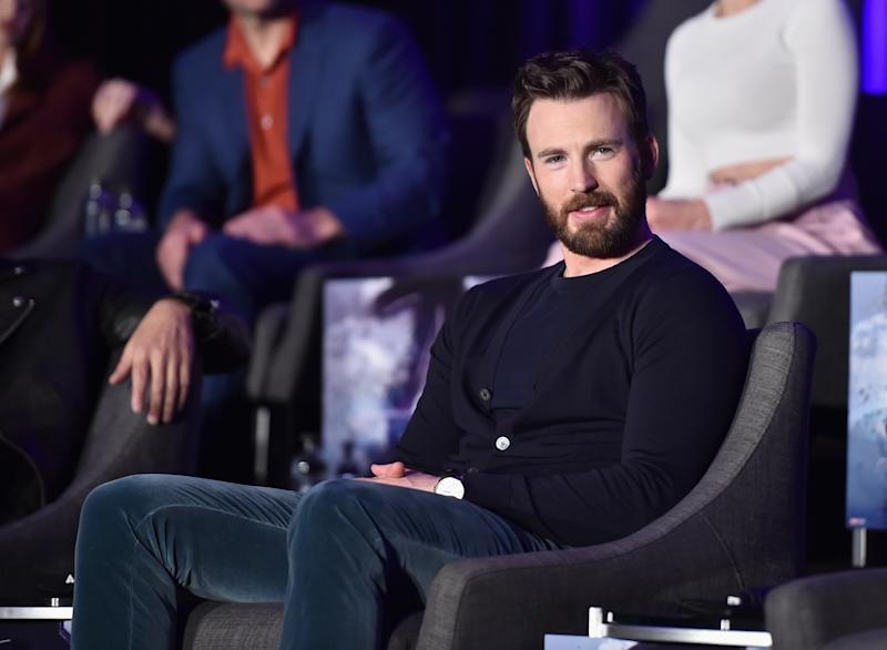 "LOS ANGELES, CA - APRIL 07: Chris Evans speaks onstage during Marvel Studios' ""Avengers: Endgame"" Global Junket Press Conference at the InterContinental Los Angeles Downtown on April 7, 2019 in Los Angeles, California. (Photo by Alberto E. Rodriguez/Getty Images for Disney)"