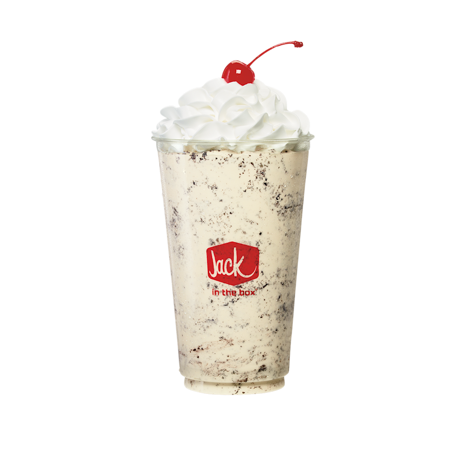 """<p><strong>Official Menu Description: """"</strong>Sorry, Milk, but OREO® has a new best friend—old-fashioned thick shakes. Made with real vanilla ice cream, OREO® cookie pieces, topped with whipped cream and a maraschino cherry. Seriously, Milk. Move on. Sign up for online dating or something."""" - <a href=""""https://www.jackinthebox.com"""" rel=""""nofollow noopener"""" target=""""_blank"""" data-ylk=""""slk:Jack In The Box"""" class=""""link rapid-noclick-resp"""">Jack In The Box </a></p><p><strong>Verdict:</strong> Finally, something different! The shakes at Jack In The Box are standard to most with typical flavors like vanilla, chocolate and strawberry, but then comes the fan-favorite Oreo flavor to rise above the rest. Although not the best on the list...in terms of price, contrast to other competitors, and originality, this Oreo shake is worth the drive over to the nearest Box. </p>"""