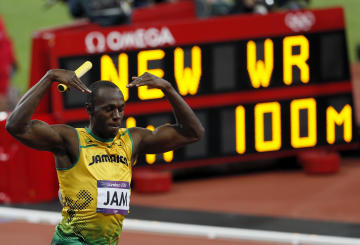 Jamaica's Usain Bolt celebrates winning the men's 4x100m relay final (REUTERS)