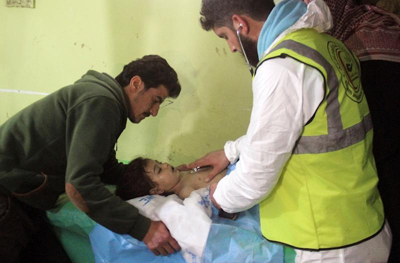 Syrians treated for 'suffocation' from 'toxic gas' after regime airstrikes