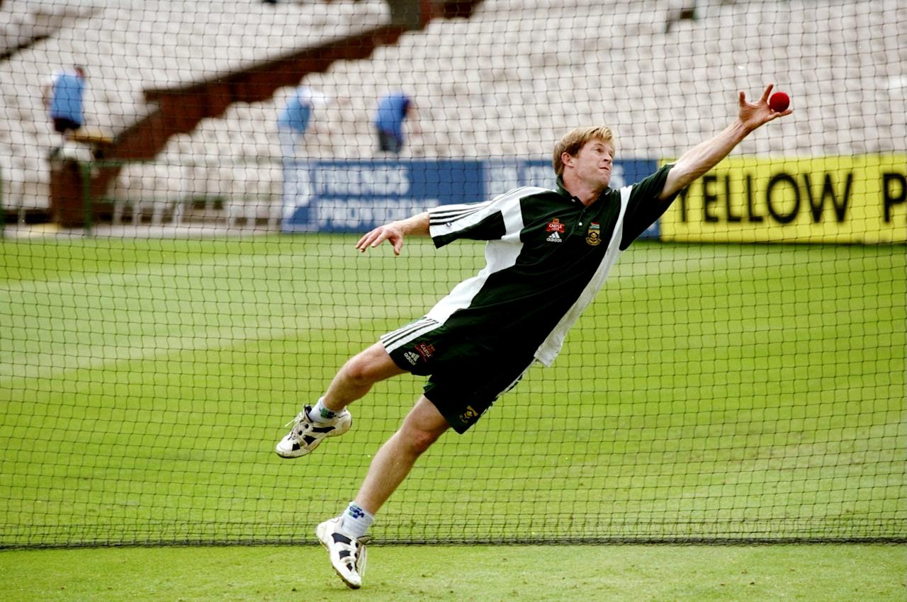 1 Jul 1998:  Jonty Rhodes of South Africa in action during a net session before the Third Test match against England at Old Trafford in Manchester, England. The match ended in a draw. \ Mandatory Credit: Lawrence  Griffiths/Allsport