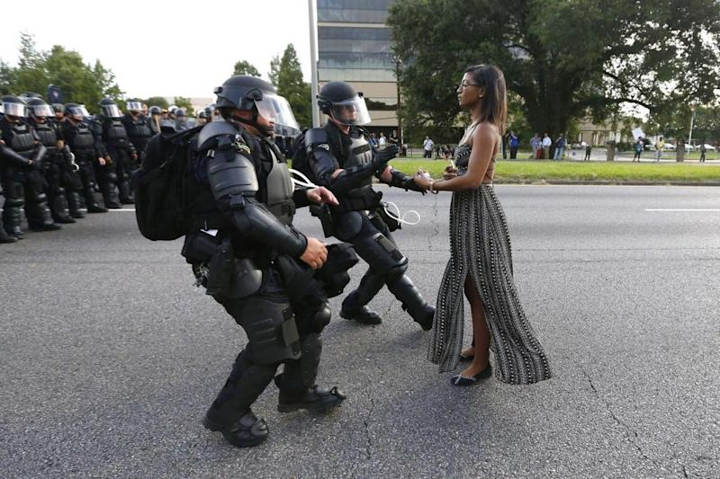 Leshia Evans in an iconic photo from a Black Lives Matter protest (Jonathan Bachman/Reuters via World Press Photo)