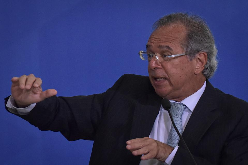 Brazil's Economy Minister Paulo Guedes speaks during the Emergency Aid Extension ceremony at the Planalto Palace in Brasília, Brazil, on June 30, 2020. The Emergency Aid is a financial benefit granted by the Federal Government to workers and unemployed people affected by the Coronavirus (COVID-19) pandemic. (Photo by Andre Borges/NurPhoto via Getty Images)